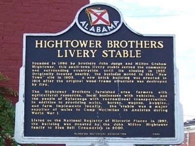Hightower Brothers Livery Stable Marker image. Click for full size.
