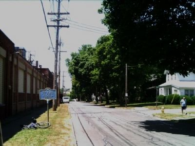American Can Company Marker as seen facing west along Parce Ave. image. Click for full size.
