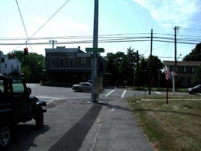 The West Henrietta Village Marker as seen facing west towards 15 image. Click for full size.