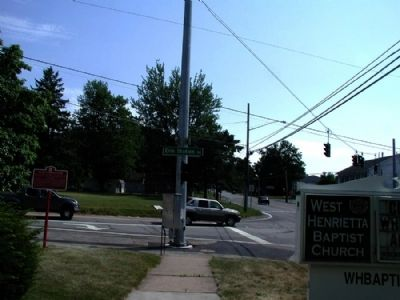 The West Henrietta Village Marker as seen facing south on 15 image. Click for full size.