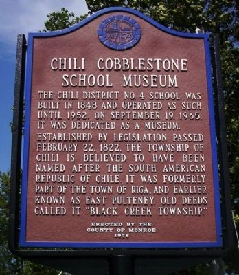 Chili Cobblestone School Museum Marker image. Click for full size.