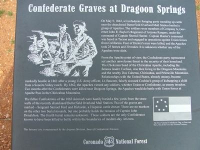 Confederate Graves at Dragoon Springs Marker image. Click for full size.