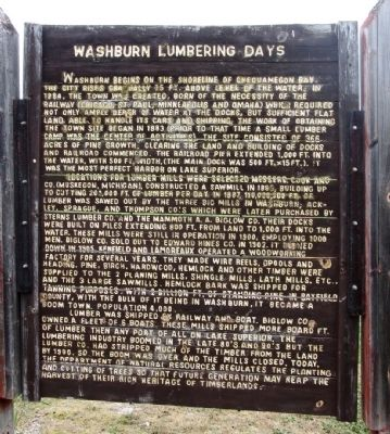 Washburn Lumbering Days / The Hines Lumber Company Marker image. Click for full size.