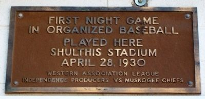 First Night Game in Organized Baseball Marker image. Click for full size.