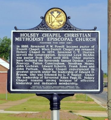 Holsey Chapel Christian Methodist Episcopal Church Marker (Side 2) image. Click for full size.