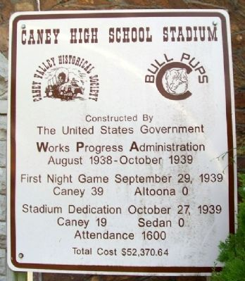Caney High School Stadium Marker image. Click for full size.