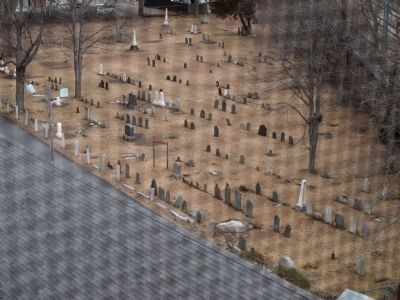 A view of the Old Kirk Yard from the church bell tower image. Click for full size.