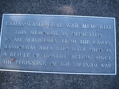 Camas-Washougal War Memorial Marker image. Click for full size.