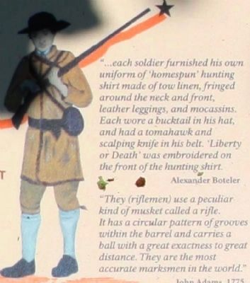 Each Soldier Furnished His Own Uniform Of 'homespun' Hunting Shirt ... image. Click for full size.
