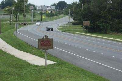 Antietam Battlefield Marker, looking north along South Potomac Street (Maryland Route 65) image. Click for full size.