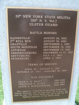 20th New York State Militia Marker image. Click for full size.
