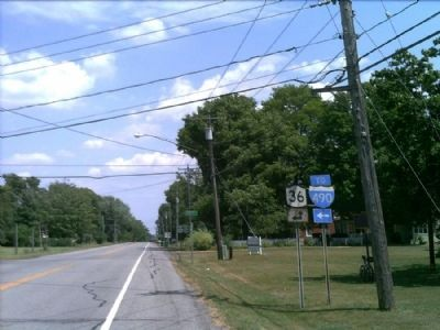 Early Church Marker as seen facing east on 33A image. Click for full size.