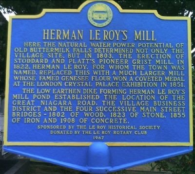 Henry Le Roy's Mill Marker image. Click for full size.