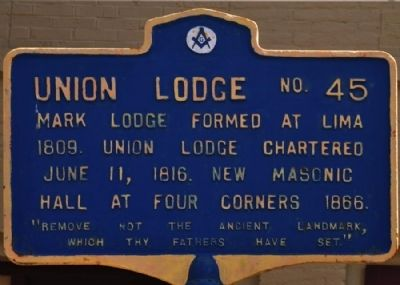 Union Lodge No. 45 Marker image. Click for full size.
