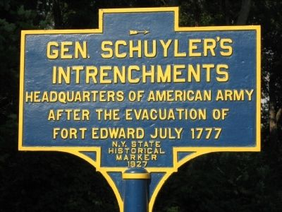 Gen. Schuyler's Intrenchments Marker image. Click for full size.