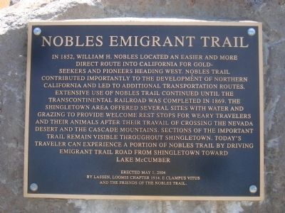 Nobles Emigrant Trail Marker image. Click for full size.