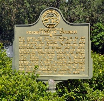 Walthourville Presbyterian Church Marker image. Click for full size.