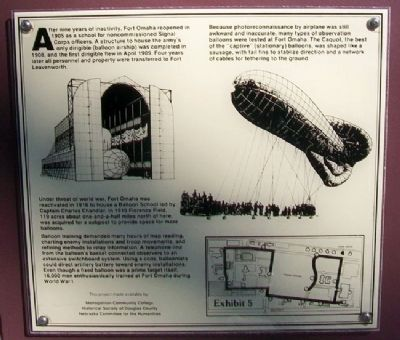 Observation Balloon Training at Fort Omaha Marker image. Click for full size.