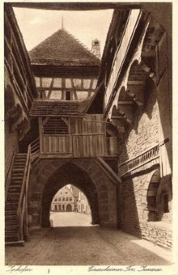 Einersheimer Gate - interior of gatehouse, 1930 postcard view image. Click for full size.