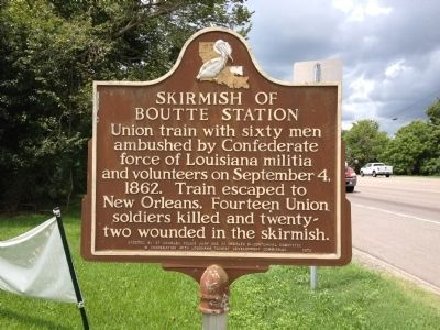 Skirmish of Boutte Station Marker image. Click for full size.