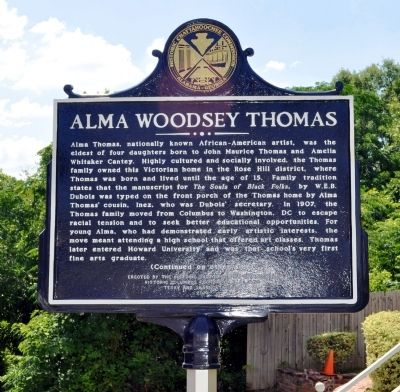 Alma Woodsey Thomas Marker, Side 1 image. Click for full size.