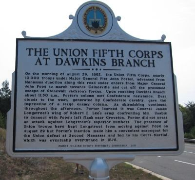 The Union Fifth Corps at Dawkins Branch Marker image. Click for full size.