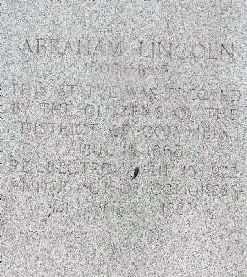 Inscription on the reverse side of the statue's base - from 1923 when it was image. Click for full size.