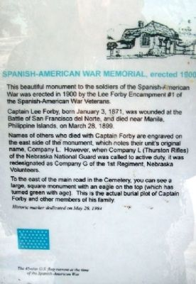 Spanish- American War Memorial Marker image. Click for full size.