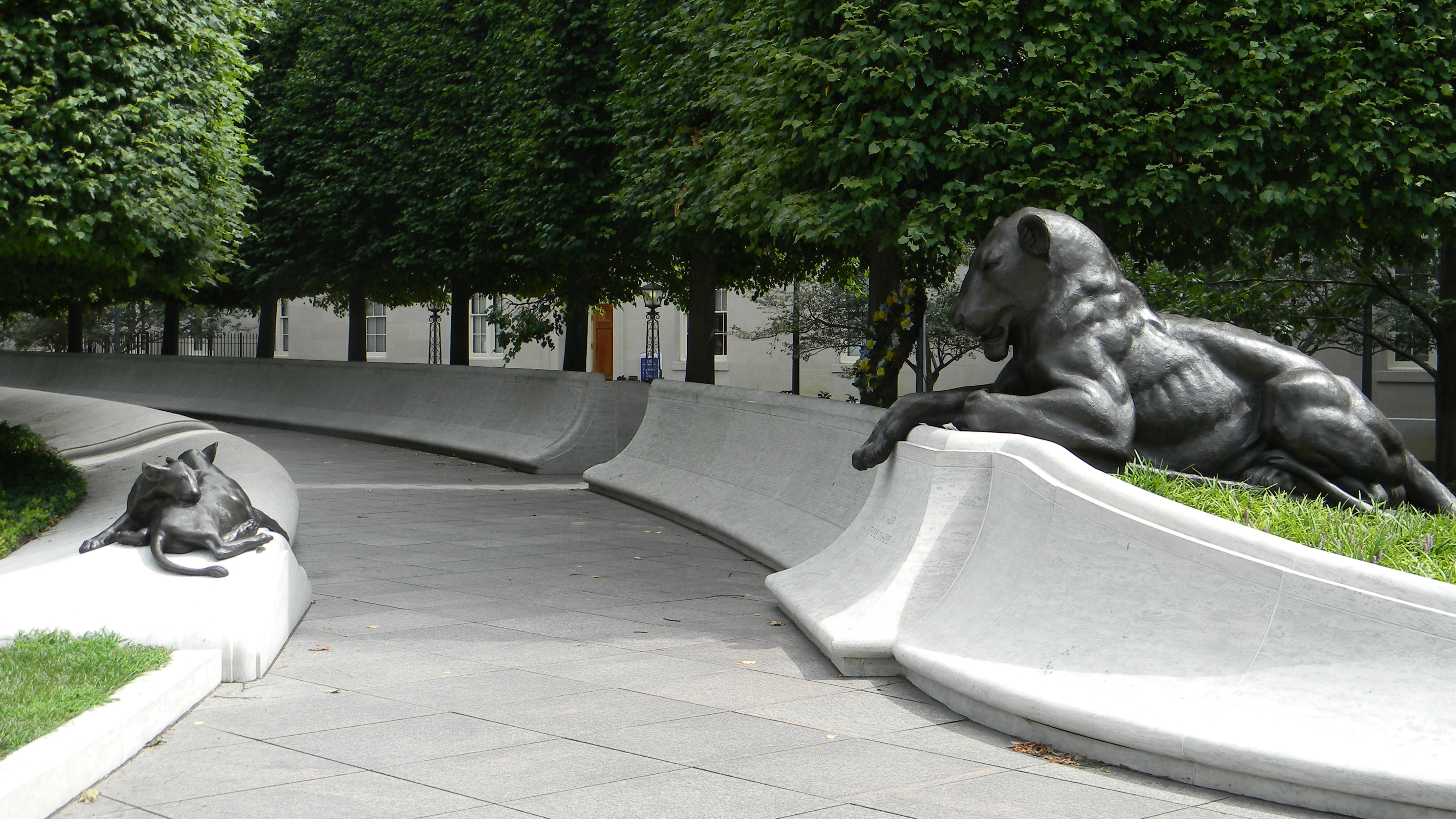 National Law Enforcement Officers Memorial - the east side pathway with a bronze lion (right)