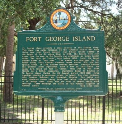 Fort George Island Marker image. Click for full size.