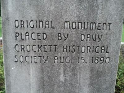 Back of Crockett Monument image. Click for full size.