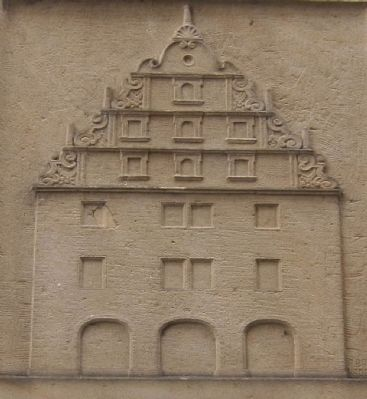 Closeup of relief of <i>die Alte Mauth</i> (Old Tollhouse) on the marker image. Click for full size.