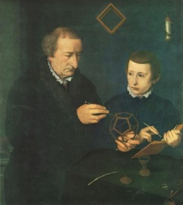 Portrait of Johann Neudörfer and Son, 1561, by Nicolas Neufchatel image. Click for full size.