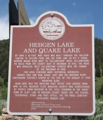 Hebgen Lake and Quake Lake image. Click for full size.