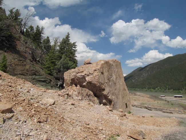 Madison Canyon Earthquake Memorial Boulder image. Click for full size.