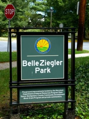 Belle Ziegler Park sign at Takoma and Albany Avenues image. Click for full size.
