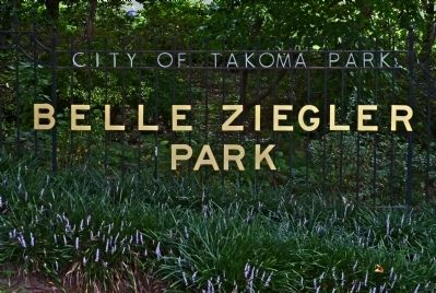 Belle Ziegler Park sign at Takoma and Buffalo Avenues image. Click for full size.