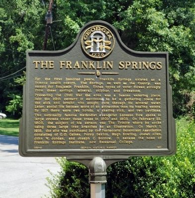 The Franklin Springs Marker image. Click for full size.