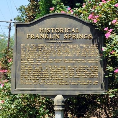 Historical Franklin Springs Marker image. Click for full size.