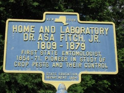 Home and laboratory of Dr. Asa Fitch Marker image. Click for full size.