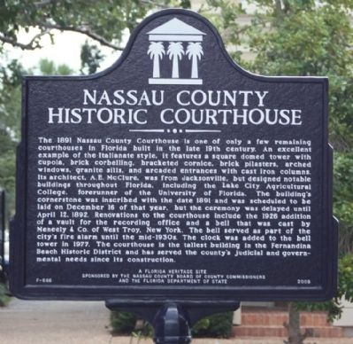 Nassau County Historic Courthouse Marker image. Click for full size.