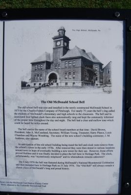 The Old McDonald School Bell sign image. Click for full size.