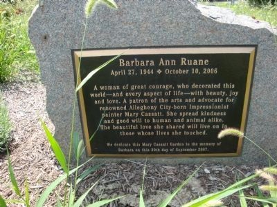 Plaque dedicated to Barbara Ann Ruane image. Click for full size.