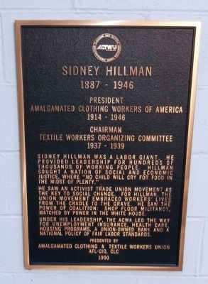 Sidney Hillman Marker image. Click for full size.