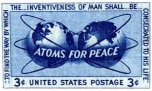 """Atoms for Peace ""Postage Stamp, issued 1955 image. Click for full size."