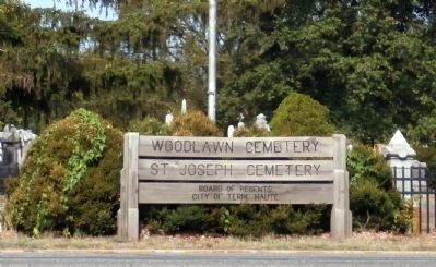 "Sign - - "" Woodlawn Cemetery / St. Joseph Cemetery "" image. Click for full size."