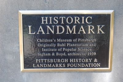 Buhl Planetarium and Institute of Popular Science Marker image. Click for full size.