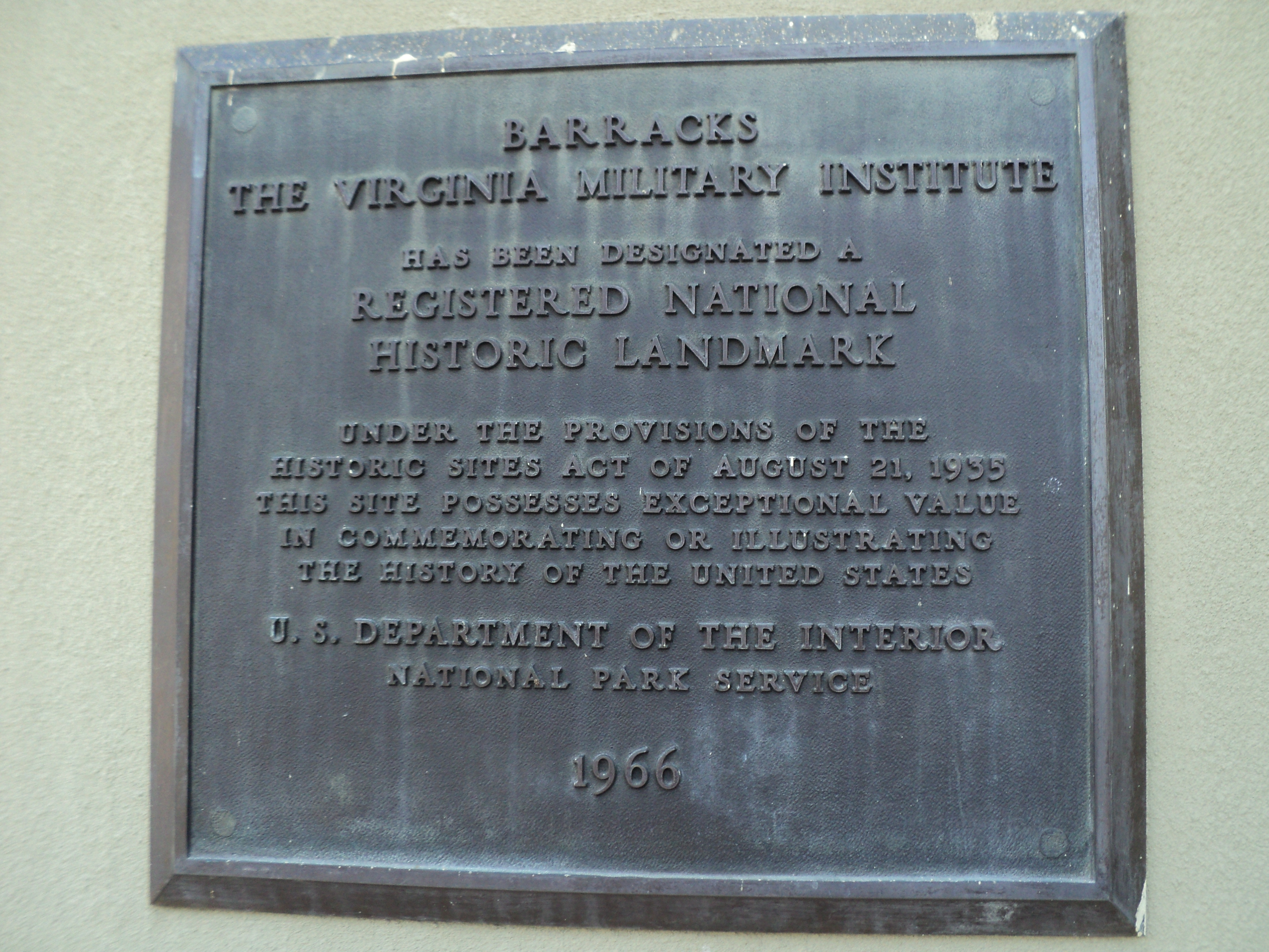 Barracks<br>The Virginia Military Institute Marker