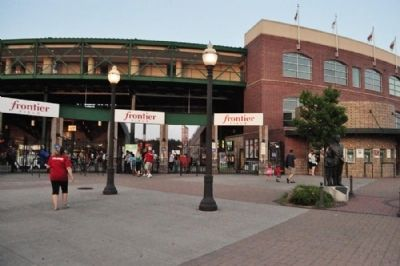 Morrie E. Silver Marker in front of Frontier Field image. Click for full size.