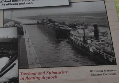 Towboat and Submarine in floating drydock image. Click for full size.